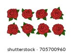 roses. hand drawn roses set.... | Shutterstock .eps vector #705700960