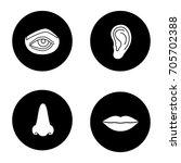 facial body parts glyph icons...   Shutterstock .eps vector #705702388