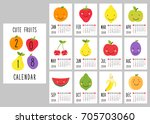 cute 2018 calendar pages with... | Shutterstock .eps vector #705703060