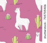 seamless pattern with alpaca  ...   Shutterstock .eps vector #705705406