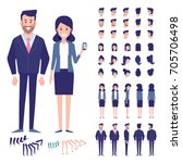 Vector character set for animation.Business people - man and woman. Front, side, back view animated characters.  | Shutterstock vector #705706498