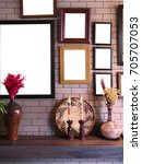 empty real picture frames on... | Shutterstock . vector #705707053