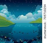 underwater sea with coral reef... | Shutterstock .eps vector #705710254