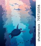 underwater sea wildlife  ... | Shutterstock .eps vector #705710356