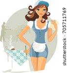 pretty waitress | Shutterstock .eps vector #705711769