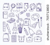 freehand drawing school items...   Shutterstock .eps vector #705713803