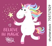 cute magical white unicorn with ... | Shutterstock .eps vector #705717829