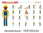 set of construction worker.... | Shutterstock .eps vector #705720133