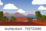 farmland rural cartoon... | Shutterstock . vector #705722680