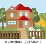 wood house farm landscape.... | Shutterstock .eps vector #705725044