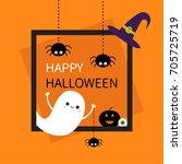 happy halloween. square frame....   Shutterstock .eps vector #705725719