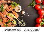 Bbq Grilled Shrimps On Black...