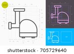 electric meat grinder line icon ... | Shutterstock .eps vector #705729640