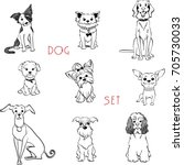 Vector Set Black And White Dog...