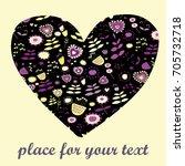 heart from cute flowers pattern.... | Shutterstock .eps vector #705732718