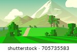 farmland rural cartoon... | Shutterstock . vector #705735583