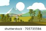 farmland rural cartoon... | Shutterstock . vector #705735586