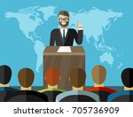 press conference. man standing... | Shutterstock .eps vector #705736909