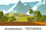 farmland rural cartoon... | Shutterstock . vector #705739003