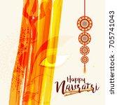 illustration of happy navratri... | Shutterstock .eps vector #705741043