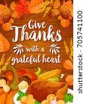 thanksgiving day festive dinner ...   Shutterstock .eps vector #705741100