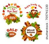 autumn sale promo 50 percent... | Shutterstock .eps vector #705741130