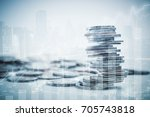 double exposure of graph and... | Shutterstock . vector #705743818