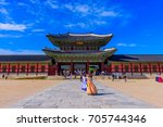 gyeongbokgung palace in seoul... | Shutterstock . vector #705744346