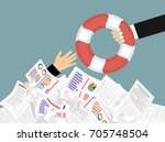 the hand of a man sticks out of ... | Shutterstock .eps vector #705748504