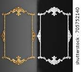 3d rendering gold stucco frame | Shutterstock . vector #705752140