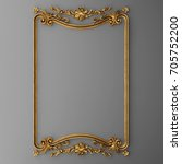 3d rendering gold stucco frame | Shutterstock . vector #705752200