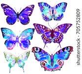 beautiful blue butterfly... | Shutterstock . vector #705752809