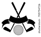 black crossed golf ball logo | Shutterstock .eps vector #705754726