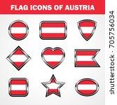 flag icons of austria stock... | Shutterstock .eps vector #705756034
