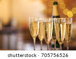 champagne glasses on gold... | Shutterstock . vector #705756526
