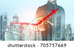 businessman point at increasing ... | Shutterstock . vector #705757669