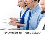 call center agents talking on... | Shutterstock . vector #705766600
