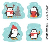 set of cute penguins. merry... | Shutterstock .eps vector #705768034