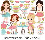 vector tea party set. set... | Shutterstock .eps vector #705772288