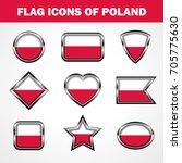 flag icons of poland stock... | Shutterstock .eps vector #705775630
