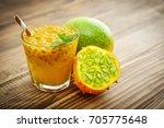 passion fruit fresh juice in... | Shutterstock . vector #705775648