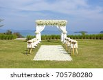 wedding ceremony set up on a... | Shutterstock . vector #705780280