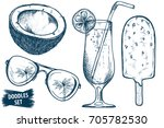 summer travel sketches set.... | Shutterstock .eps vector #705782530