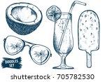 summer travel sketches set.... | Shutterstock .eps vector #705782530
