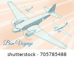 bon voyage aviation background. ...   Shutterstock .eps vector #705785488