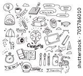 set of creativity doodle... | Shutterstock .eps vector #705786010