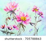hand painted modern style pink... | Shutterstock . vector #705788863