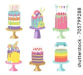 birthday party celebration... | Shutterstock .eps vector #705799288