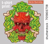 brutal tattoo evil skull in... | Shutterstock .eps vector #705803758