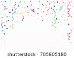 many falling colorful tiny... | Shutterstock .eps vector #705805180